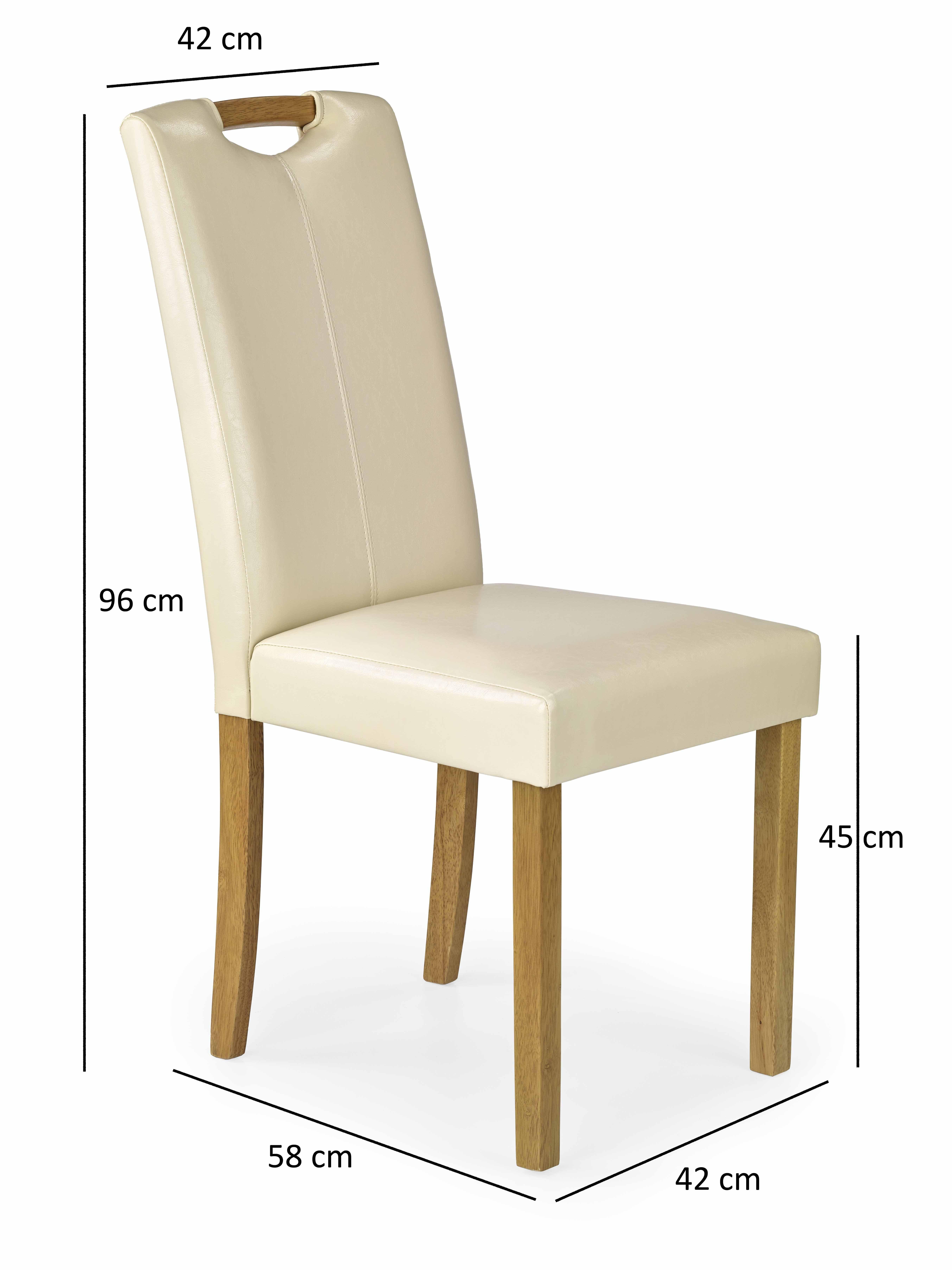 Trefl krzesło drewniane lite  eco skóra - buk kremowe_wymiar