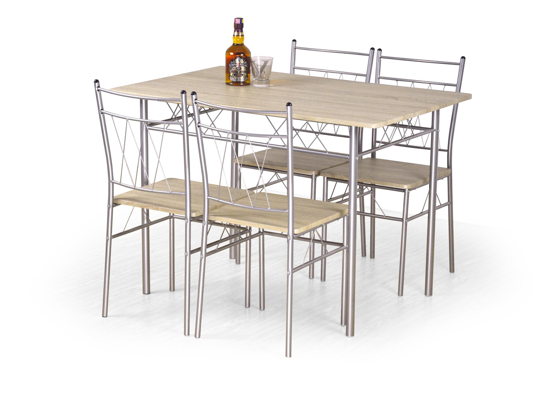 Orfeus zestaw - stół + 4 krzesła - stal malowana proszkowo  MDF laminowany - dąb sonoma