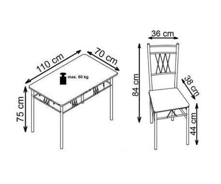 Orfeus zestaw - stół + 4 krzesła - stal malowana proszkowo  MDF laminowany - dąb sonoma _wymiar